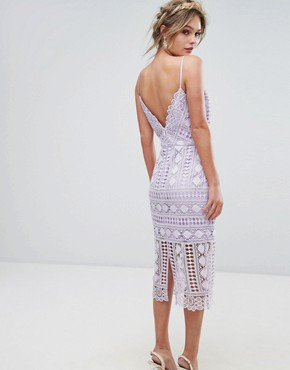 photo High Neck Lace Midi Dress with V-Back by Chi Chi London, color Lilac - Image 2