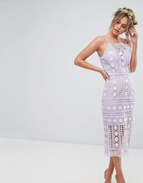 photo High Neck Lace Midi Dress with V-Back by Chi Chi London, color Lilac - Image 1