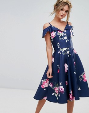 photo Midi Dress with Frill Cold Shoulder by Chi Chi London, color Multi - Image 1