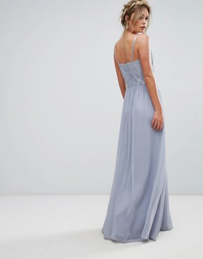 photo Cami Strap Maxi Dress with Premium Lace by Chi Chi London, color Grey - Image 2