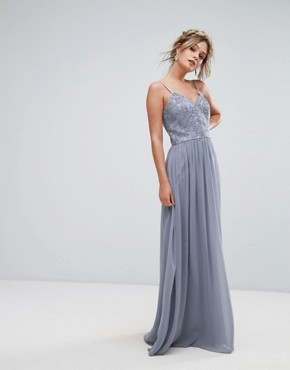 photo Cami Strap Maxi Dress with Premium Lace by Chi Chi London, color Grey - Image 1