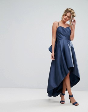 photo Bandeau Midi Dress with Exaggerated Bow Back by Chi Chi London, color Navy - Image 2