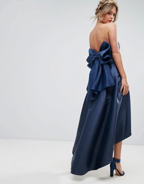 photo Bandeau Midi Dress with Exaggerated Bow Back by Chi Chi London, color Navy - Image 1