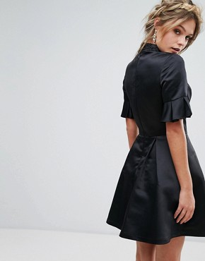 photo High Neck Mini Dress with 3/4 Sleeve and Frill Detail by Chi Chi London, color Black - Image 2