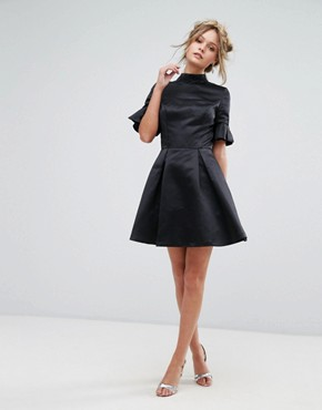photo High Neck Mini Dress with 3/4 Sleeve and Frill Detail by Chi Chi London, color Black - Image 4