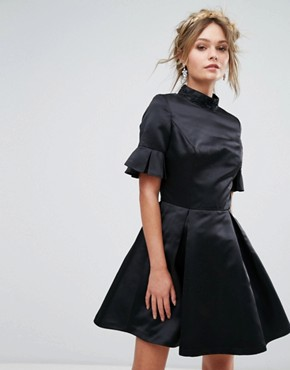 photo High Neck Mini Dress with 3/4 Sleeve and Frill Detail by Chi Chi London, color Black - Image 1