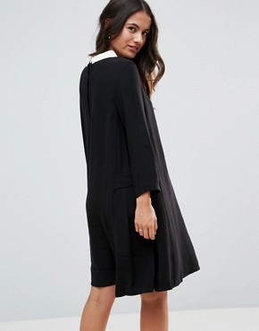 photo Peter Pan Collar Shift Dress by FRNCH, color Black - Image 2
