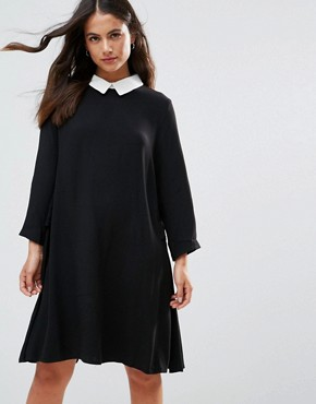 photo Peter Pan Collar Shift Dress by FRNCH, color Black - Image 1
