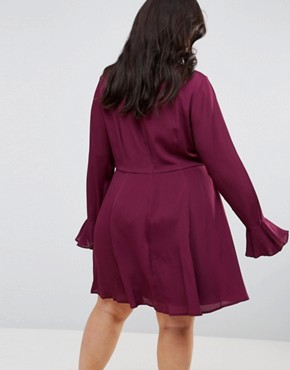 photo Embroidered Trumpet Sleeve Mini Dress by ASOS CURVE, color Berry - Image 2
