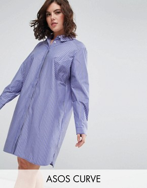 photo Cotton Shirt Dress in Stripe by ASOS CURVE, color Multi - Image 1