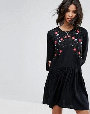 photo Embroidered Smock Dress by Only, color Black - Image 1