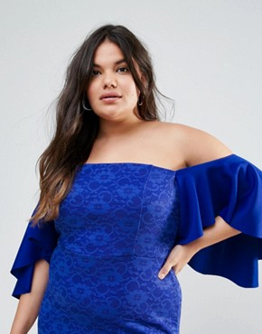photo Lace Bardot Midi Dress with Extreme Sleeves by ASOS CURVE, color Royal Blue - Image 3