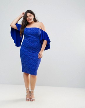 photo Lace Bardot Midi Dress with Extreme Sleeves by ASOS CURVE, color Royal Blue - Image 4