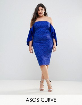 photo Lace Bardot Midi Dress with Extreme Sleeves by ASOS CURVE, color Royal Blue - Image 1