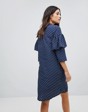 photo Polka Dot Shift Dress with Ruffle Front by Influence, color Navy - Image 2