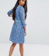 photo Mini Dress in Lace with Sporty Trims by Sister Jane Petite, color Blue - Image 2