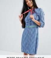 photo Mini Dress in Lace with Sporty Trims by Sister Jane Petite, color Blue - Image 1