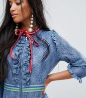 photo Mini Dress in Lace with Sporty Trims by Sister Jane Petite, color Blue - Image 3