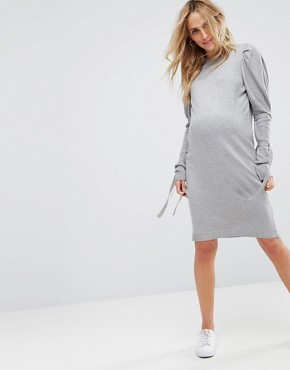 photo Knitted Dress with Puff Shoulder by ASOS Maternity, color Grey - Image 1
