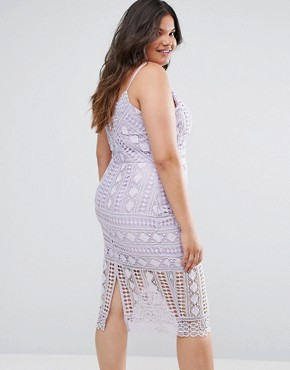 photo High Neck Lace Midi Dress with V-Back by Chi Chi London Plus, color Lilac - Image 2