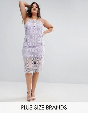 photo High Neck Lace Midi Dress with V-Back by Chi Chi London Plus, color Lilac - Image 1