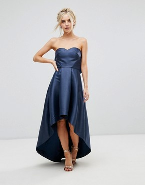 photo Bandeau Midi Dress with Exaggerated Bow Back by Chi Chi London Petite, color Navy - Image 2