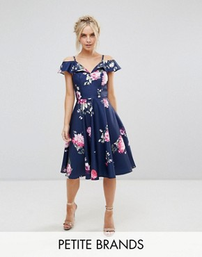 photo Midi Dress with Frill Cold Shoulder by Chi Chi London Petite, color Multi - Image 1