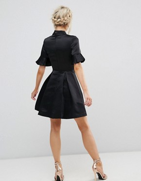 photo High Neck Mini Dress with 3/4 Sleeve and Frill Detail by Chi Chi London Petite, color Black - Image 2