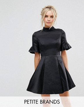photo High Neck Mini Dress with 3/4 Sleeve and Frill Detail by Chi Chi London Petite, color Black - Image 1