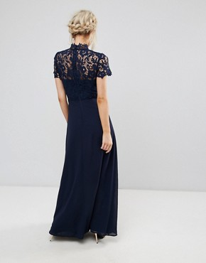 photo 2 in 1 High Neck Maxi Dress with Crochet Lace by Chi Chi London Petite, color Navy - Image 2