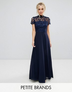 photo 2 in 1 High Neck Maxi Dress with Crochet Lace by Chi Chi London Petite, color Navy - Image 1