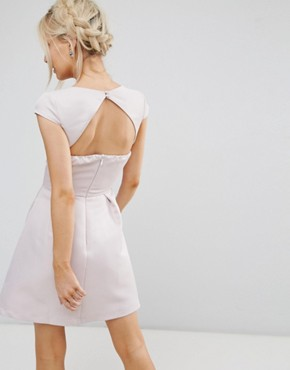 photo Sweetheart Mini Dress with Open Back by Chi Chi London Petite, color Taupe - Image 2