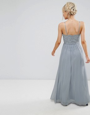 photo Cami Strap Maxi Dress with Premium Lace by Chi Chi London Petite, color Grey - Image 2