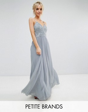 photo Cami Strap Maxi Dress with Premium Lace by Chi Chi London Petite, color Grey - Image 1