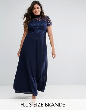 photo 2 in 1 High Neck Maxi Dress with Crochet Lace by Chi Chi London Plus, color Navy - Image 1