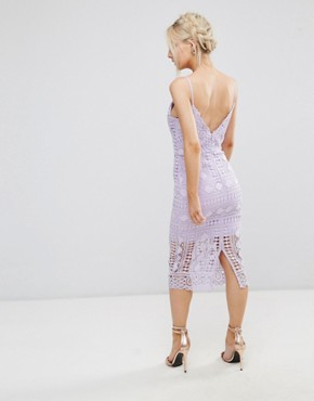 photo High Neck Lace Midi Dress with V-Back by Chi Chi London Petite, color Lilac - Image 2
