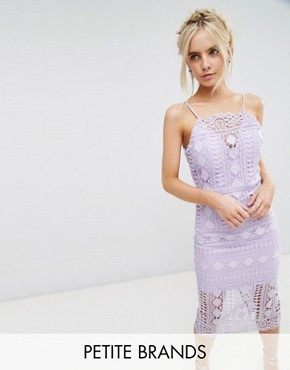 photo High Neck Lace Midi Dress with V-Back by Chi Chi London Petite, color Lilac - Image 1