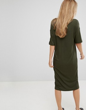 photo Ribbed Midi Dress by Selected, color Green - Image 2