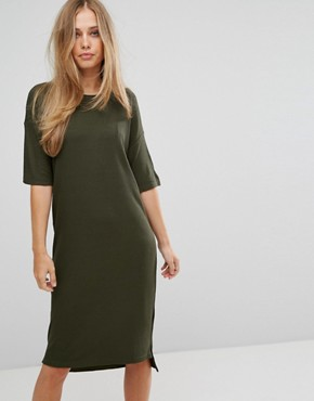 photo Ribbed Midi Dress by Selected, color Green - Image 1