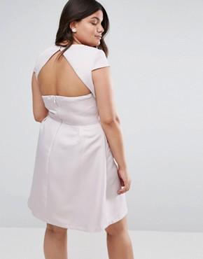 photo Sweetheart Mini Dress with Open Back by Chi Chi London Plus, color Taupe - Image 2