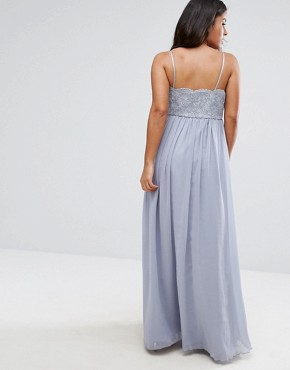 photo Cami Strap Maxi Dress with Premium Lace by Chi Chi London Maternity, color Grey - Image 2