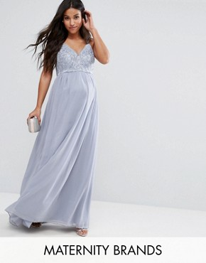 photo Cami Strap Maxi Dress with Premium Lace by Chi Chi London Maternity, color Grey - Image 1