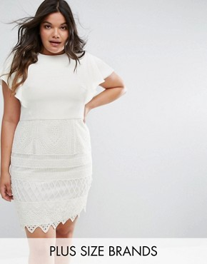 photo 2 in 1 Pencil Dress with Lace Skirt by Chi Chi London Plus, color White - Image 1
