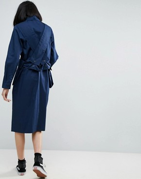 photo Pocket Cross Over Shirt Dress by ASOS WHITE 3D, color Navy - Image 2