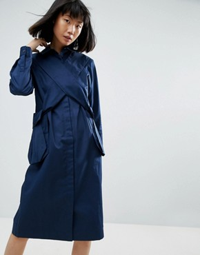 photo Pocket Cross Over Shirt Dress by ASOS WHITE 3D, color Navy - Image 1
