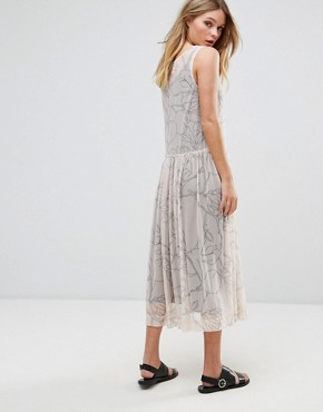 photo Printed Mesh Midi Dress by Selected, color Cream - Image 2