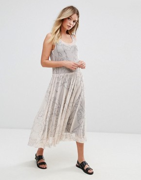 photo Printed Mesh Midi Dress by Selected, color Cream - Image 1