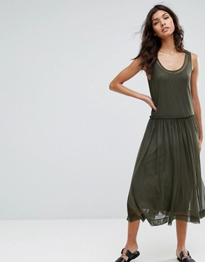 photo Printed Mesh Midi Dress by Selected, color Green - Image 1