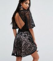 photo Tea Dress in Lace with Ladder Detail by Sisters Of The Tribe Petite, color Black - Image 2