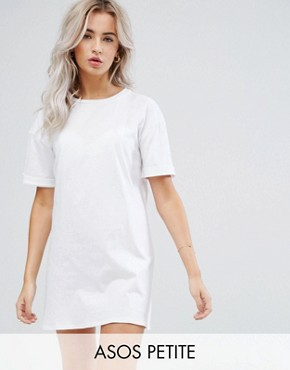 photo T-Shirt Dress with Rolled Sleeves by ASOS PETITE ULTIMATE, color White - Image 1